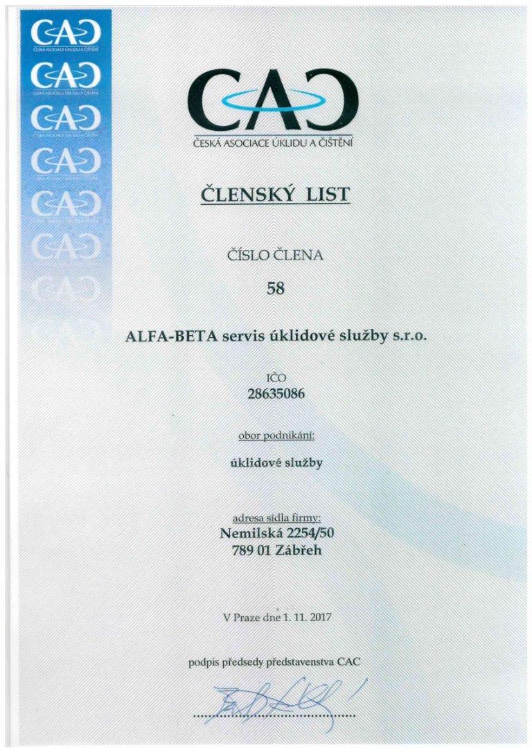 ALFA–BETA servis úklidové služby s.r.o. | certifikát